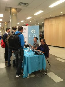 Cyrille Béraud (President) engaging with free software developers at DebConf17