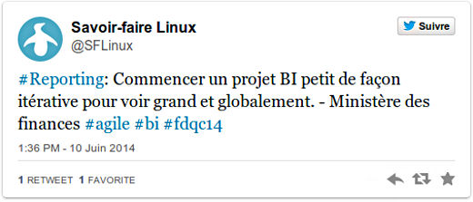 #Reporting: Commencer un projet BI petit de façon itérative pour voir grand et globalement - Ministère des finances #agile #bi #fdqc14