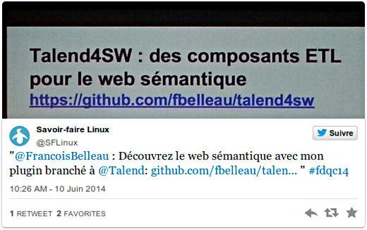 @FrancoisBelleau: Découvrez le web sémantique avec mon plugin branché @Talend #fdqc14