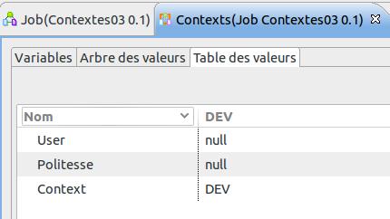 Les variables de contexte du Job