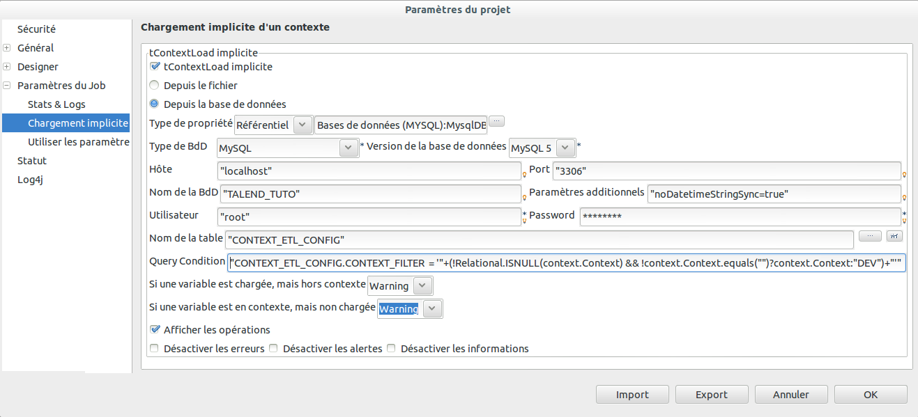 Configuration des propriétés du projet pour le chargement implicite des variables de contextes