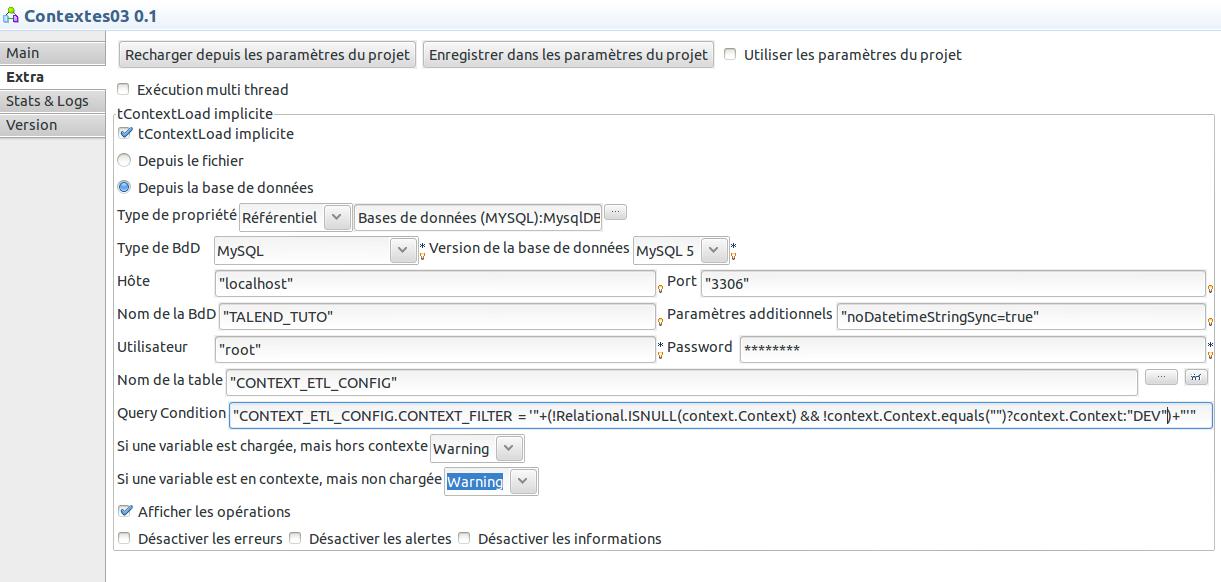 Configuration des propriétés du Job pour le chargement implicite des variables de contextes