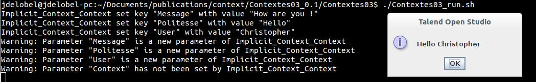 Test de notre Job avec chargement implicite des variables de contexte